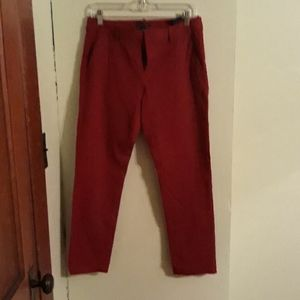 Red cropped pants, size 6